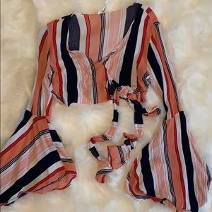 Audrey 3+1 Striped Bell Sleeve Wrap Top